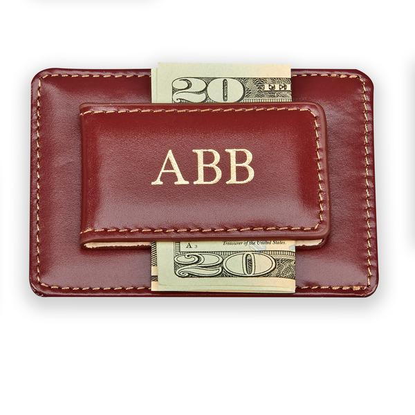 Personalized Monogrammed Gift Boxed Brown Card Holder/Money Clip