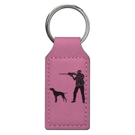 Personalized Basketball Keychains (Keychain - Hunter with Dog - Personalized Engraving Included (Pink)
