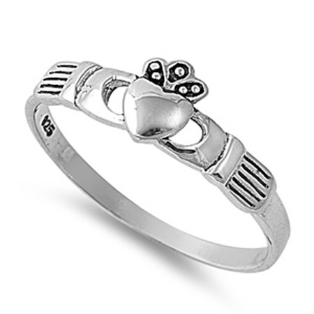 Simple Heart Promise Claddagh Purity Ring .925 Sterling Silver Band Size (Purity Ring)