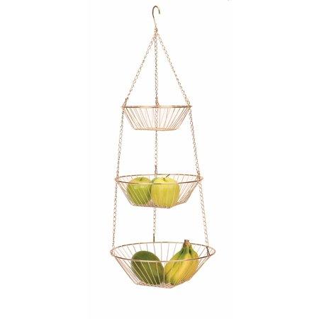 RSVP International 3-Tier Hanging Baskets, Copper Wire Inflation System Basket