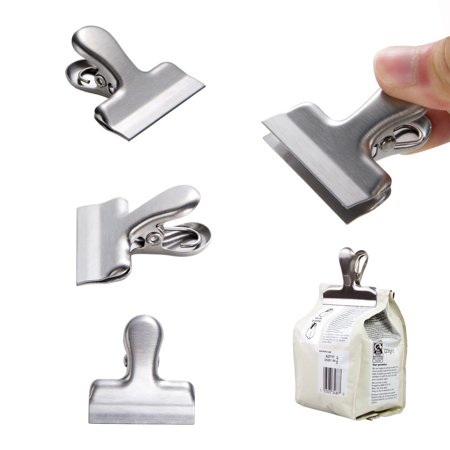 - 10pcs bulldog clip, Stainless Steel Small bag clips, Durable With 1.5'' Wide,Great for Air Tight Seal Grip on Coffee & Food Bags, snack bag, Kitchen Home Usage, Easy Storage & Fully Reusable, Silver