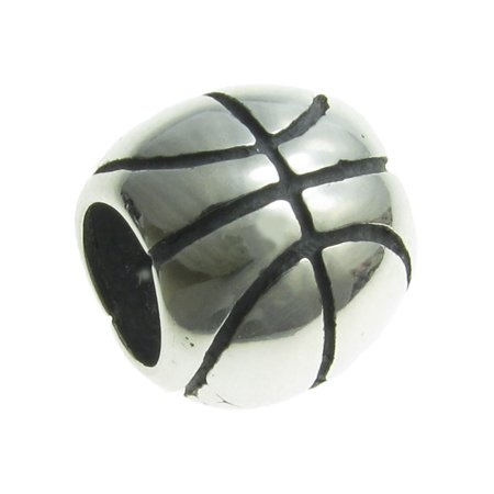 Queenberry Sterling Silver Basketball  European Style Bead Charm Fits