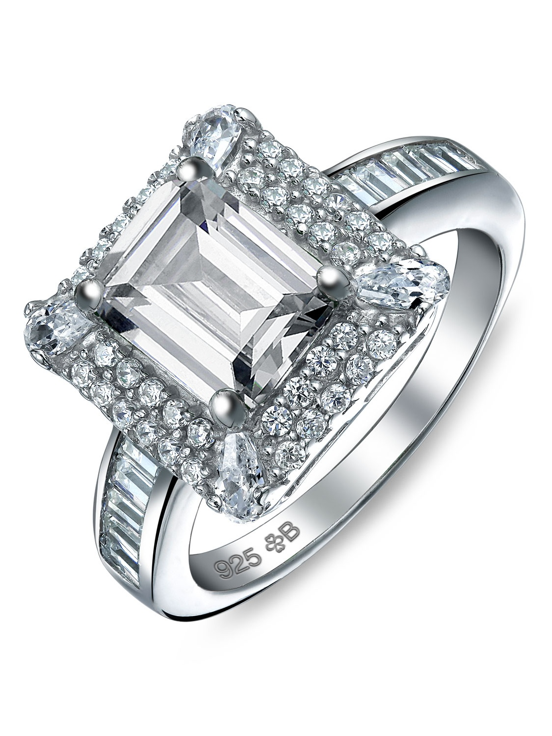 925 Silver Vintage Style Emerald Cut Cz Engagement Ring