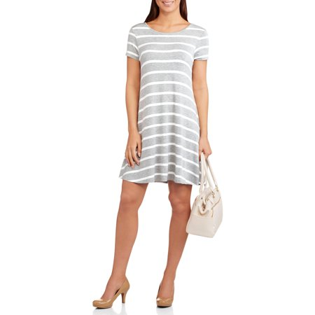 Allison Brittney Women's Striped Swing T-shirt Dress