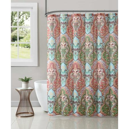 Jeweled Damask Fabric Shower Curtain, Orange-Pink, 70x72 Inches (Tan Damask Shower Curtain)