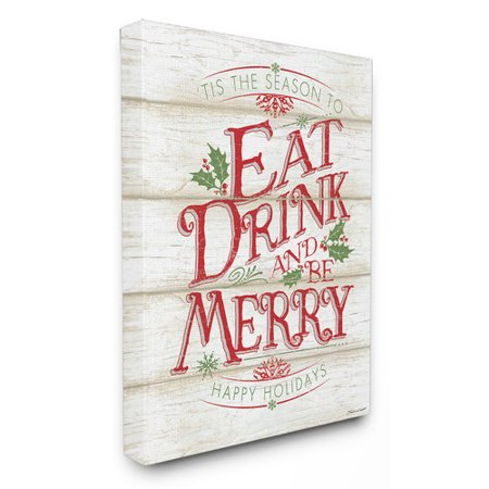 Stupell Industries Eat Drink and Be Merry Textual Art on Canvas (Eat Drink Be Merry Wall Canvas)