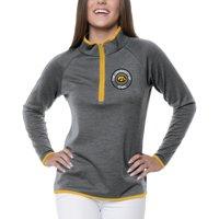 Women's Heathered Gray Iowa Hawkeyes Double Ring 1/4-Zip Jacket