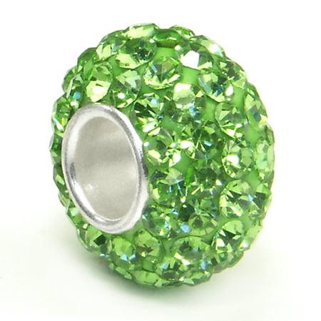 Peridot Green Crystal Ball Bead Sterling Silver Charm Fits Pandora Chamilia Biagi Trollbeads European Bracelet