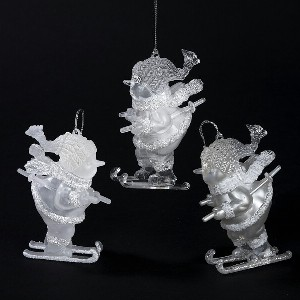 Acrylic Silver Skiing Snowman Ornament Set Of 3