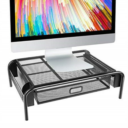 monitor stand riser, mesh metal printer stand holder with pull out storage drawer and side compartments pockets for computer, laptop, imac, desk, pens, phones, calculators by huanuo (1 pack, black)