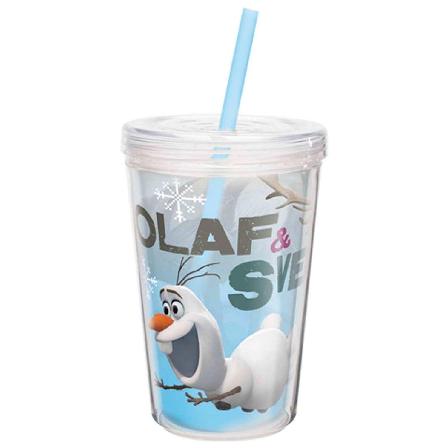 Zak! Designs Insulated Tumbler with Screw-on Lid and Straw featuring Olaf & Sven from Frozen, Break-resistant and BPA-free Plastic, 13 oz.