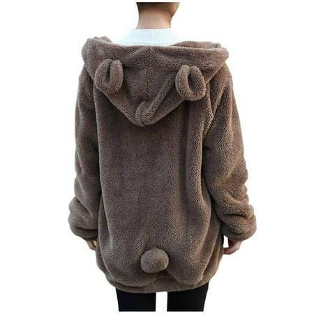 Animal Jackets With Ears (Babula Women Warm Casual Winter Bear Ear Jacket Tops)