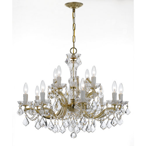 Crystorama Lighting Group 4479-CL-MWP Maria Theresa 12 Light 2 Tier Chandelier