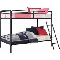 DHP Twin Over Twin Metal Bunk Bed, Multiple Colors with 2 Mainstays Mattresses