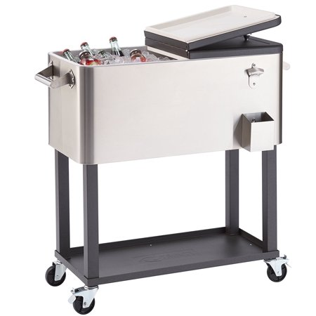 Ktaxon 80QT Portable Rolling Stainless Steel Party Cooler Cart Ice Chest Patio