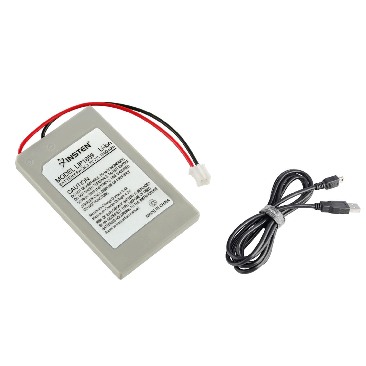 Insten USB Charger Cable + Remote Controller Replacement Battery For Sony PS3 (2-in-1 Accessory Bundle)