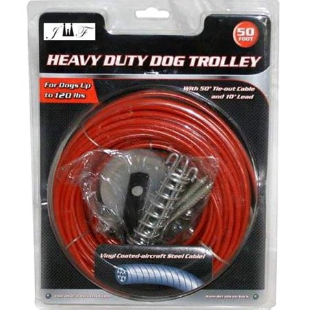 10 Tie Out (JEWELS FASHION Heavy Duty Dog Trolley - with 50' Tie-Out Cable and 10' Lead - Vinyl Coated Aircraft Steel Cable - Durable and Long Lasting for Dogs up to 120)