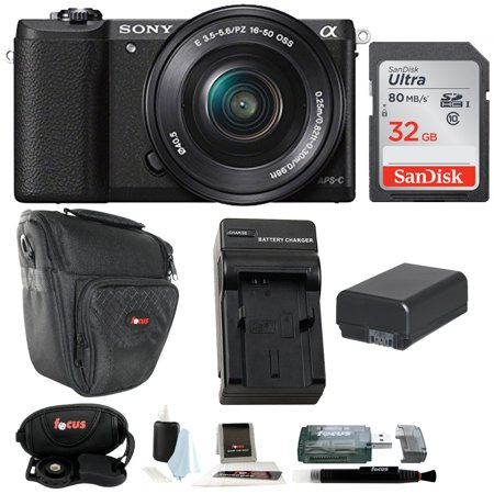 Sony Alpha a5100 ILCE5100L/B with 16-50mm Lens 24MP Mirrorless Interchangeable Lens Digital Camera (Black) 32GB (Sony A5100 16 50mm Mirrorless Digital Camera)