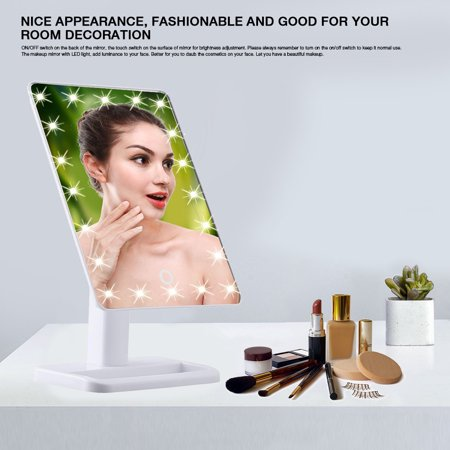 20 LED Touch Screen Illuminated Makeup Stand Mirror Desktop Lighted Cosmetic Mirrors White,Desktop Makeup Mirror, Makeup Mirror with LED Light (Makeup Mirror Desk)
