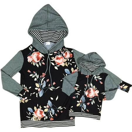 Women Long Sleeve Floral Print Cotton Woman Fashion Hoodie Sweater Gray M (900102HOODIE)