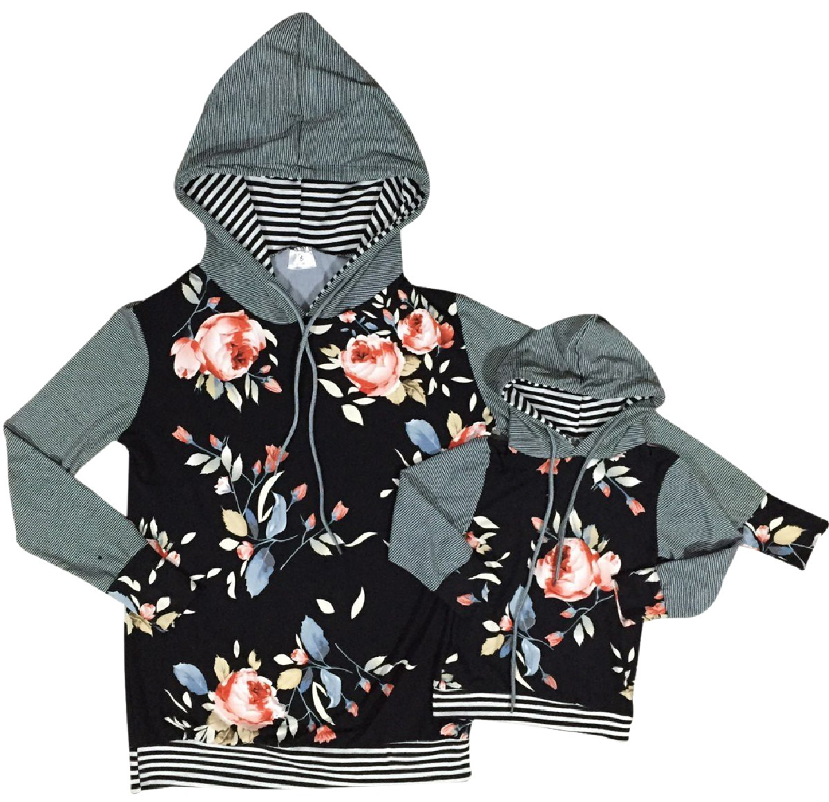 Women Long Sleeve Floral Print Cotton Woman Fashion Hoodie Sweater Gray M (900102HOODIE)