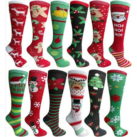 Yacht&Smith 12 Pairs Christmas Fun Colorful Festive Sock (Knee High Socks)](Christmas Sock)