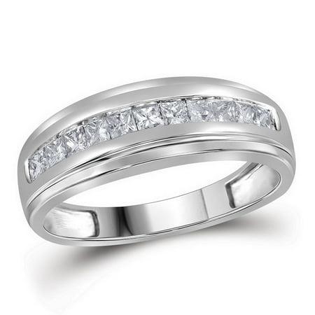 10kt White Gold Mens Princess Diamond Single Row Wedding Band Ring 1/2 Cttw