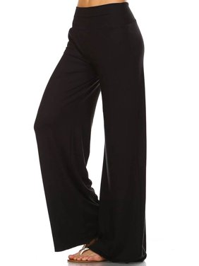 Simplicitie Women's Casual Wide Leg High Waist Bohemian Palazzo Pants - Regular and Plus Size - Made in USA