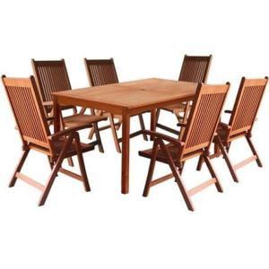 Balthazar Rectangular Table & Wood Reclining Chair Outdoor Dining Set
