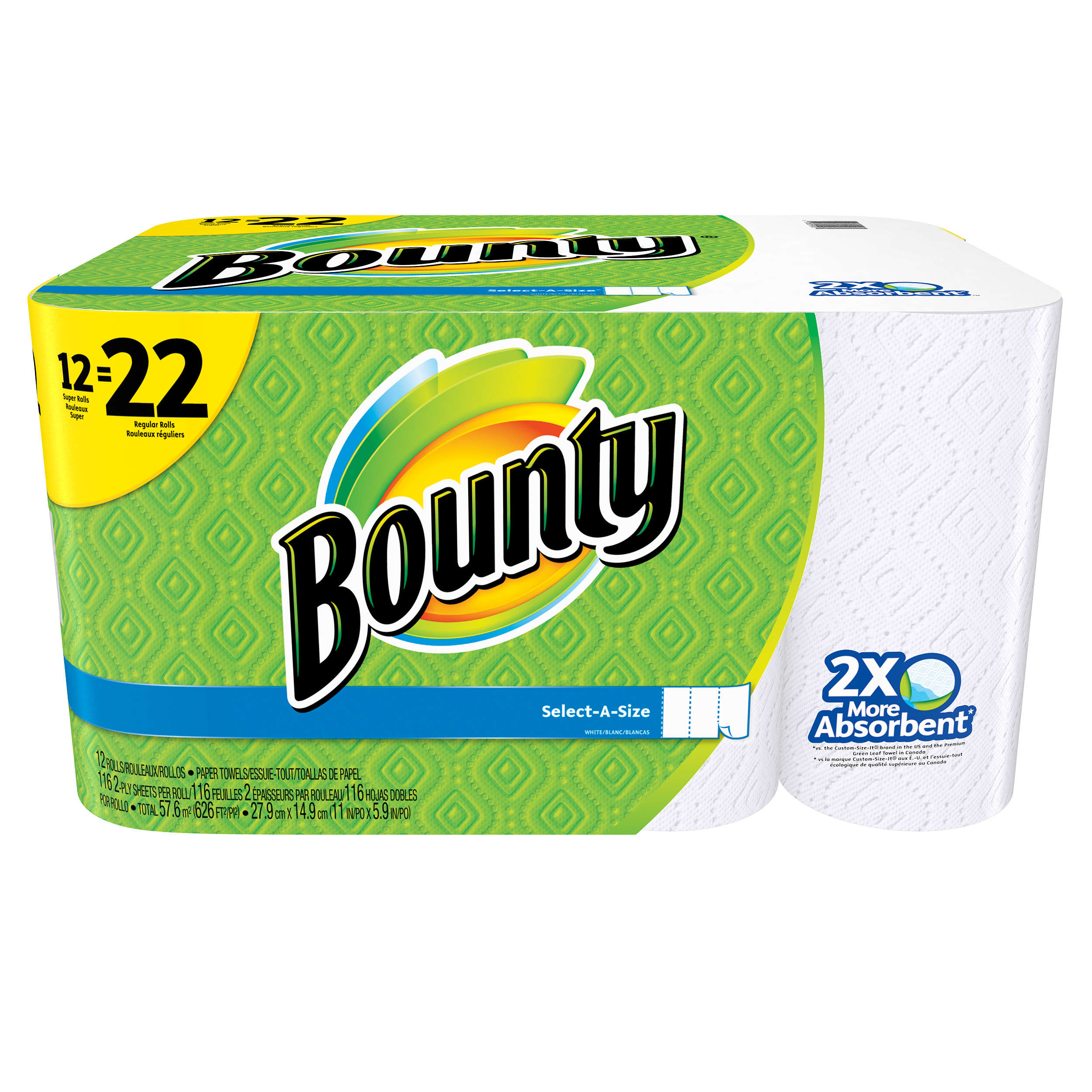 Click here to buy Bounty Paper Towels, Select-A-Size, 12 Super Rolls (22 Regular Rolls) by Bounty.