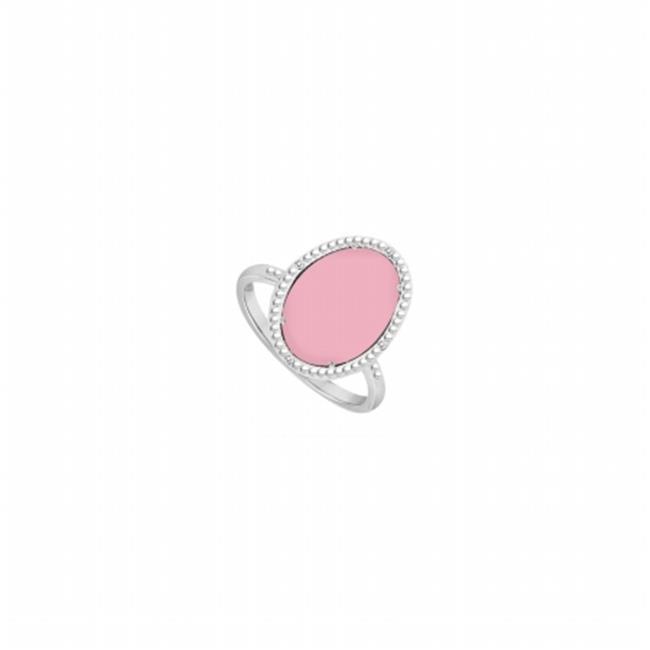 Fine Jewelry Vault UBLRBK70244W10DCPK 10K White Gold Pink Chalcedony & Diamond Ring 15.08 CT TGW , 4 Stones by Fine Jewelry Vault