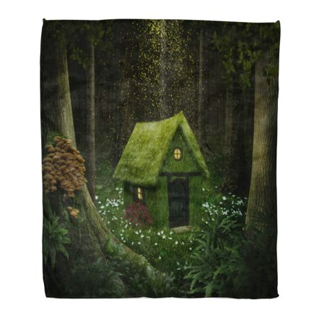 Moss Cottage - ASHLEIGH Throw Blanket Warm Cozy Print Flannel Fantasy Little House of Moss in Enchanted Forest Cottage Comfortable Soft for Bed Sofa and Couch 50x60 Inches