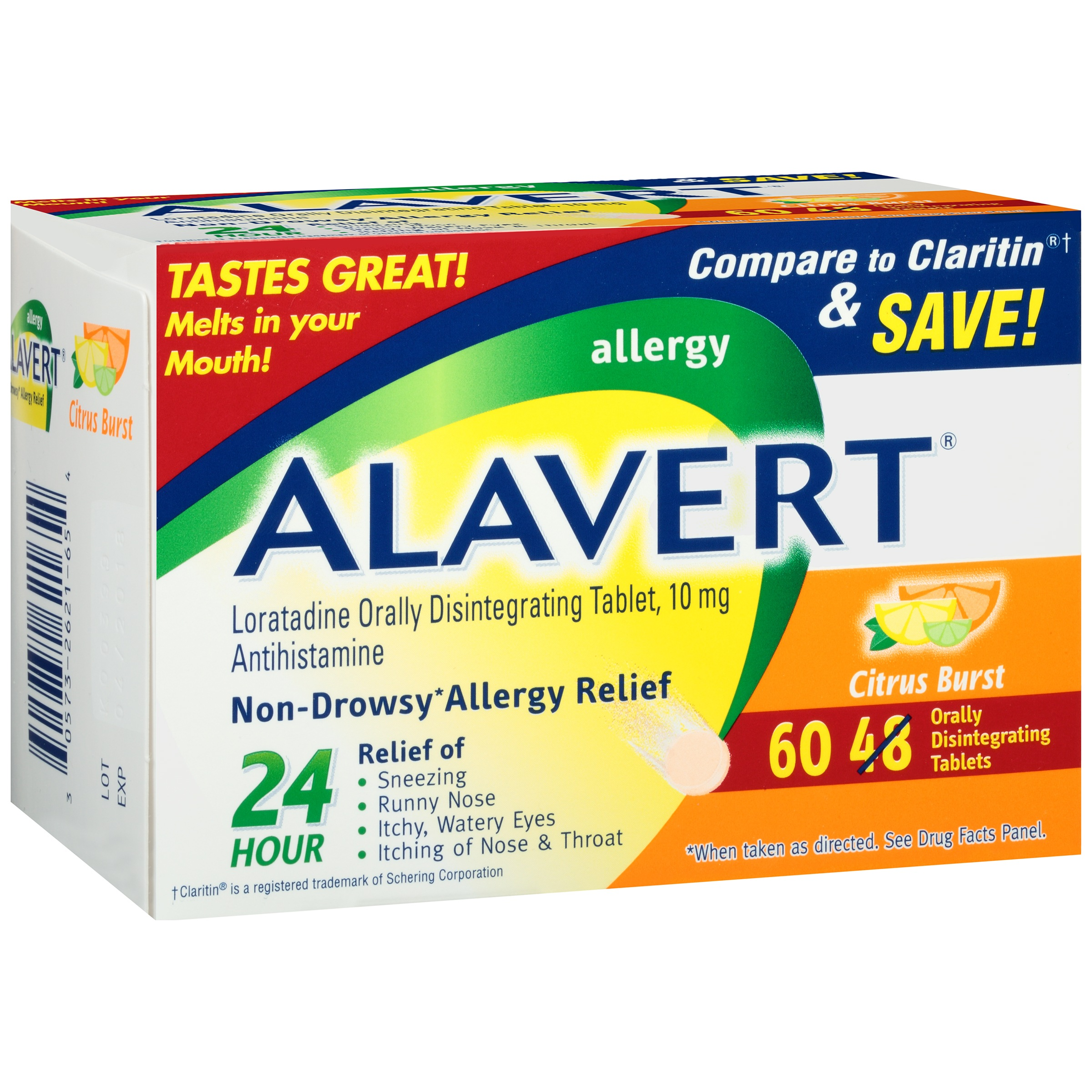 Alavert Allergy Orally Disintegrating Tablets, 10mg, Citrus Burst, 60 ct