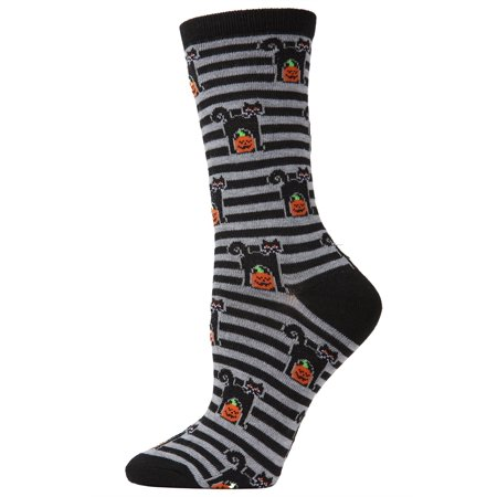 MeMoi Kitty Stripe Crew Socks | Women's Halloween Novelty Socks One Size 9-11 / Black MF7 952 - Halloween 911