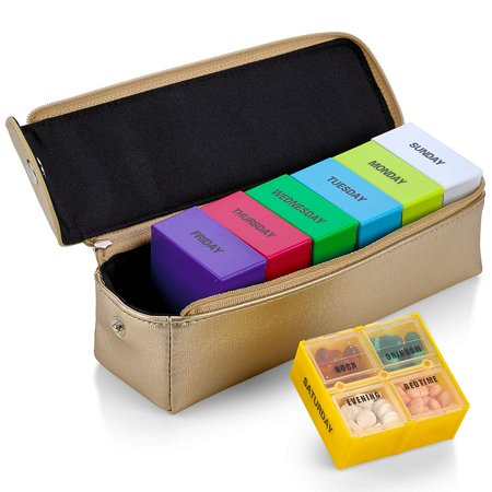 Box Large Weekly Organizer 7 Day Case Storage - Gold Box (Leather File Case)