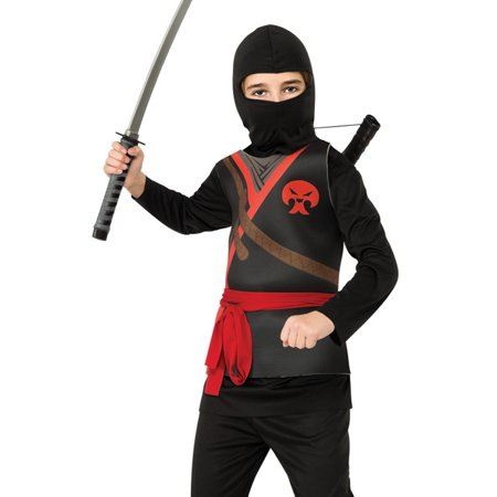 Ninja Boys Karate Kid Black Hooded Scarf Halloween Child Fancy Dress Costume - Karate Costumes For Kids