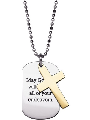 """Personalized Two-Tone Cross and Engraved Dog Tag Stainless Steel Pendant, 20"""""""