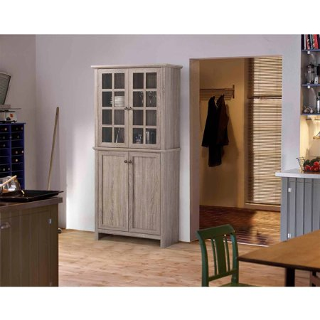Wood China Cabinet - Homestar 2-Door Glass Storage Cabinet, Reclaimed Wood