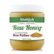 Stakich BEE POLLEN Enriched RAW HONEY 5-LB (80 oz) - 100% Pure, Unprocessed, Unheated -