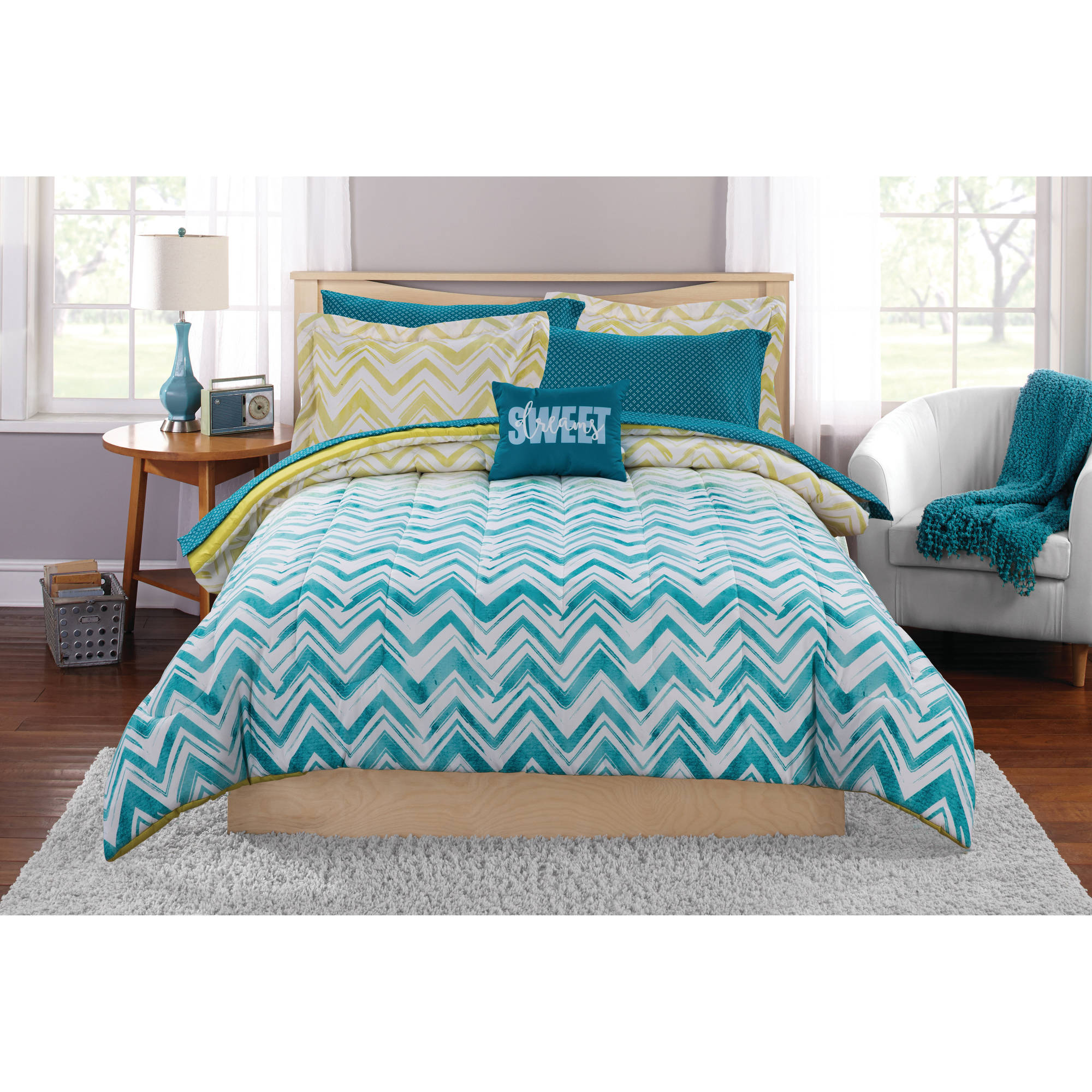 Mainstays Ombre Chevron Bed-In-A-Bag Bedding Set