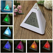 ODOMY Alarm Clock, Color Changing Triangle Alarm Clock LED Night Light Clock Kids Wake Up Digital Clock Large Display Time Date Temperature for Home Office