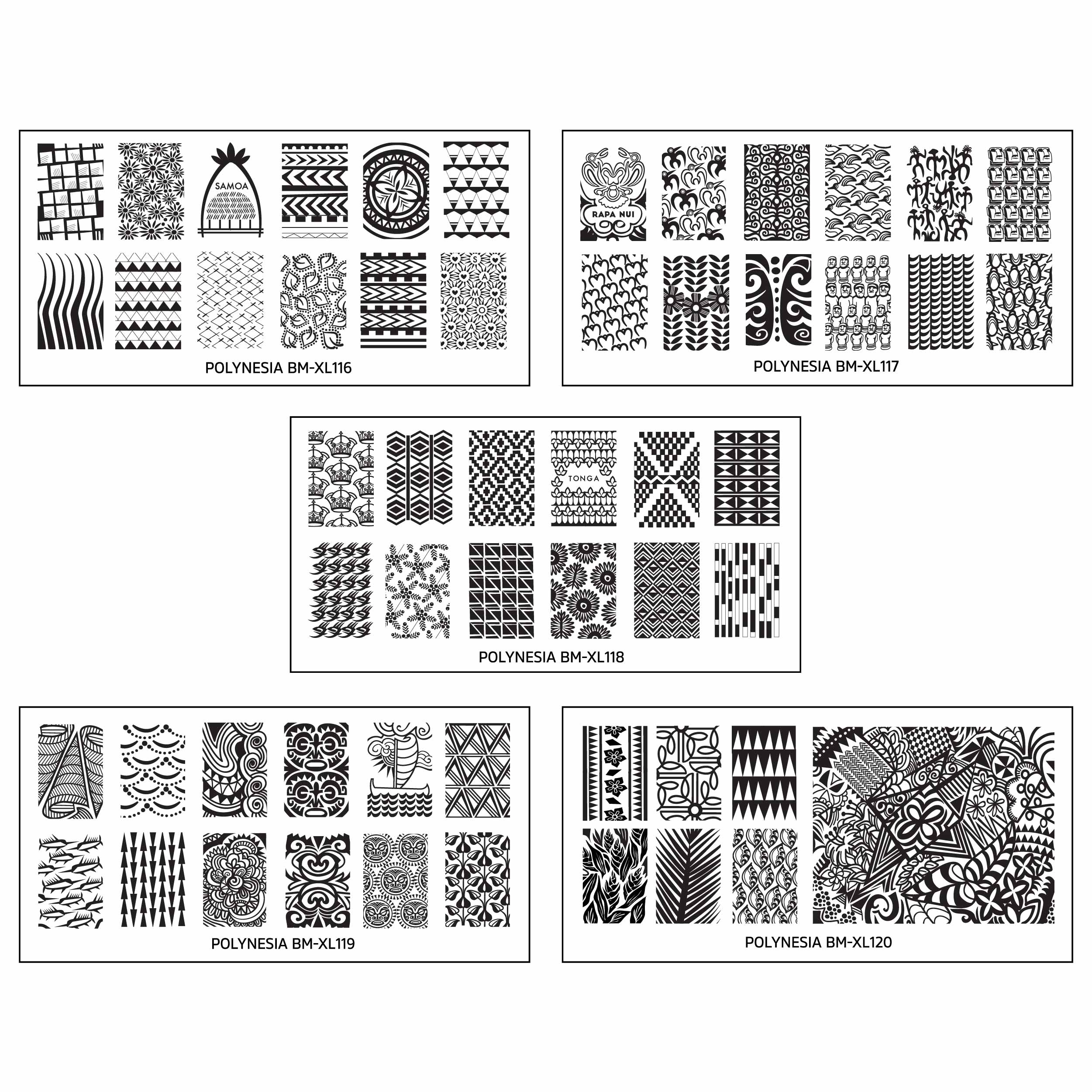 Bundle Monster Polynesian Themed Nail Art Design Rectangular XL Stamping Plates