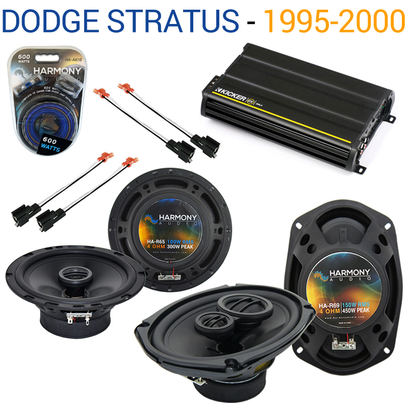 Dodge Stratus 1995-2000 OEM Speaker Upgrade Harmony R65 R69 & CX300.4 Amp - Factory Certified Refurbished