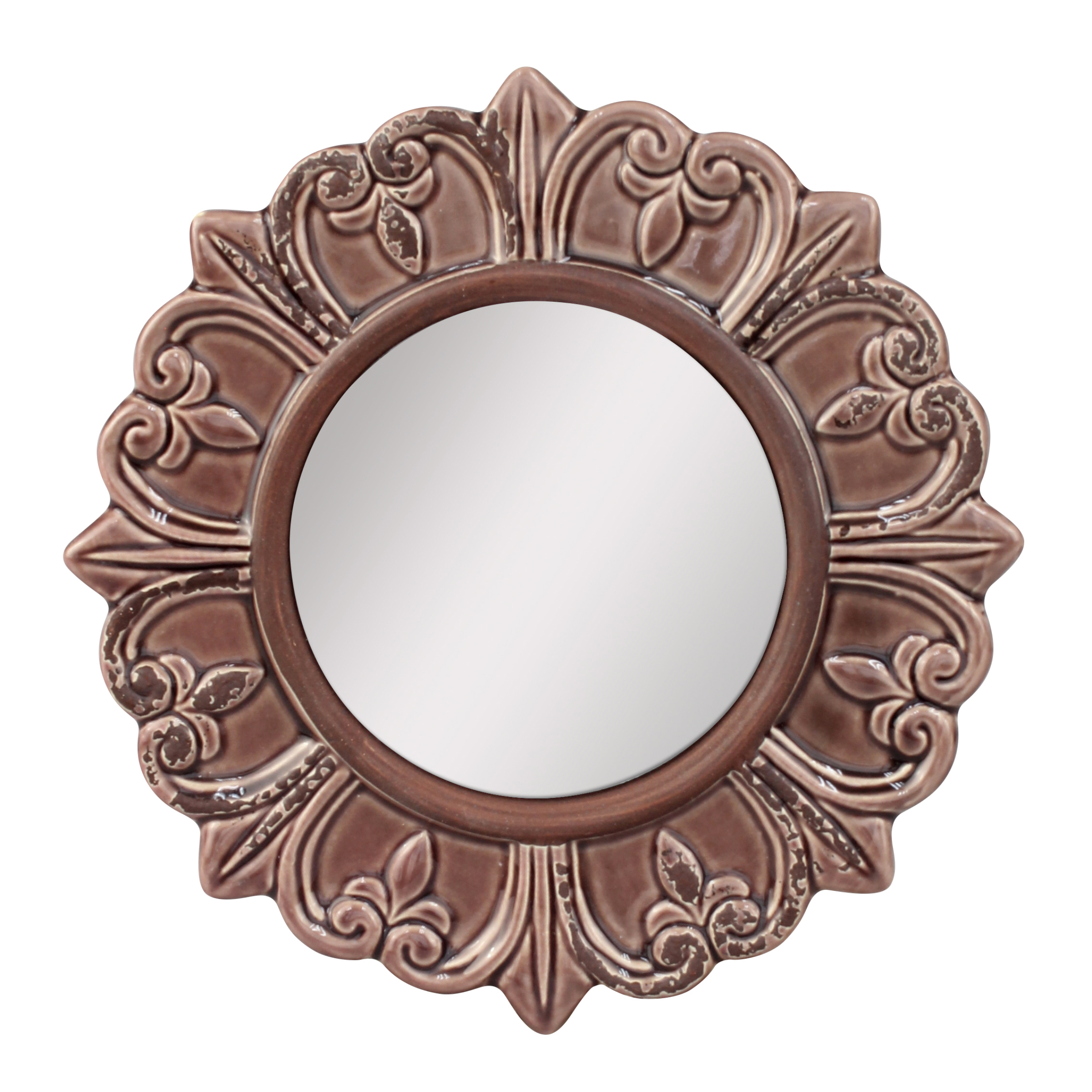 Worn Deep Taupe Ceramic Distressed Wall Mirror