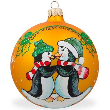 4 quot penguin couple glass ball our first christmas ornament
