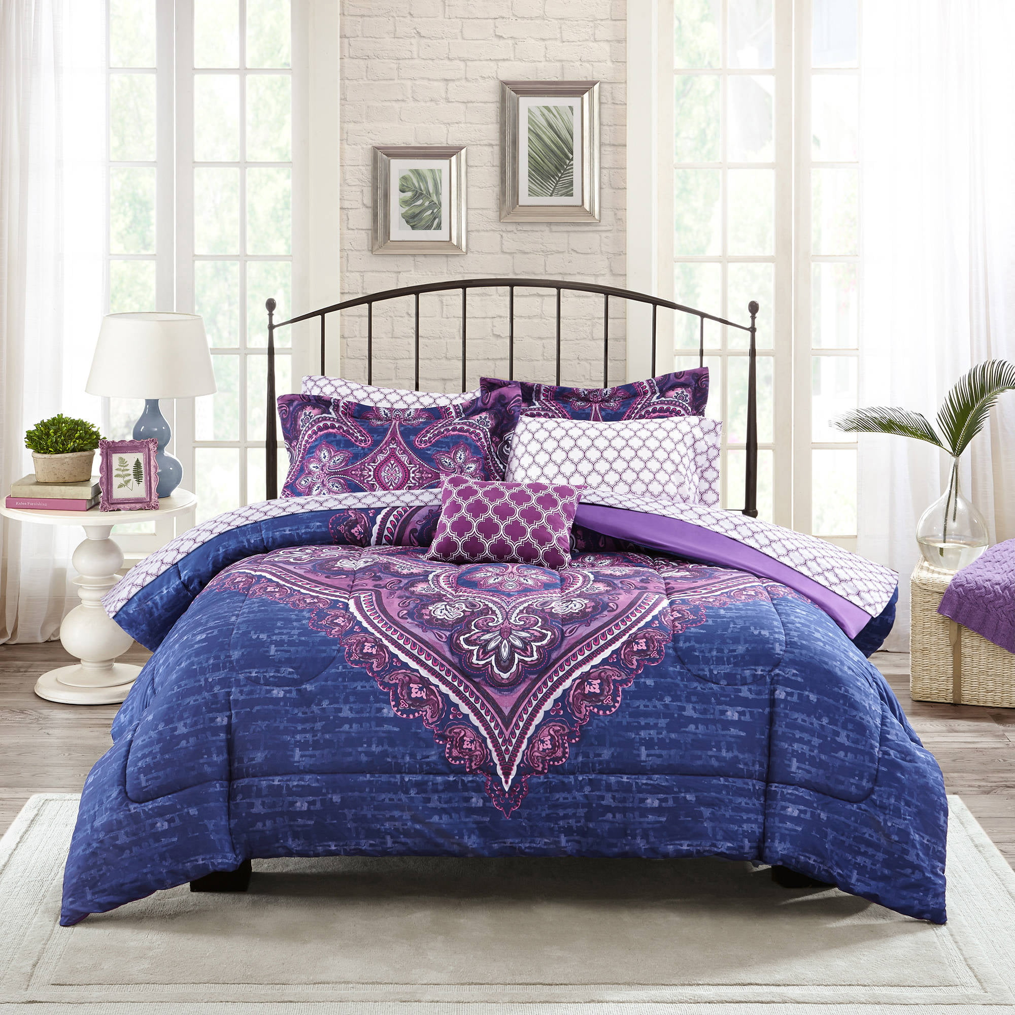 prodigious Purple Queen Size Comforter Part - 9: South Bay Down Alternative Comforter Mini Set - Walmart.com