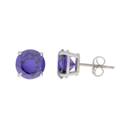 Sterling Silver 8 Mm Round Lab Created Alexandrite Stud Earrings