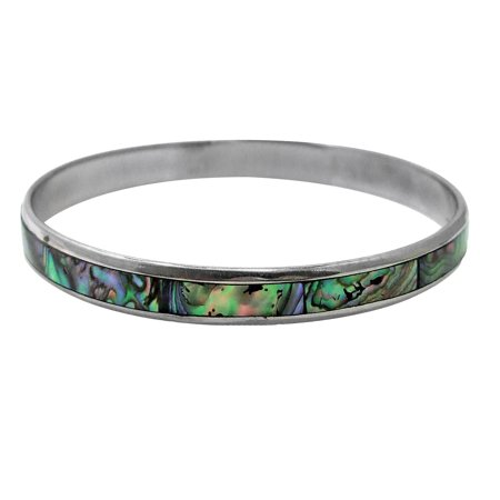 Genuine Abalone Shell Warp Stainless Steel Link Bracelet