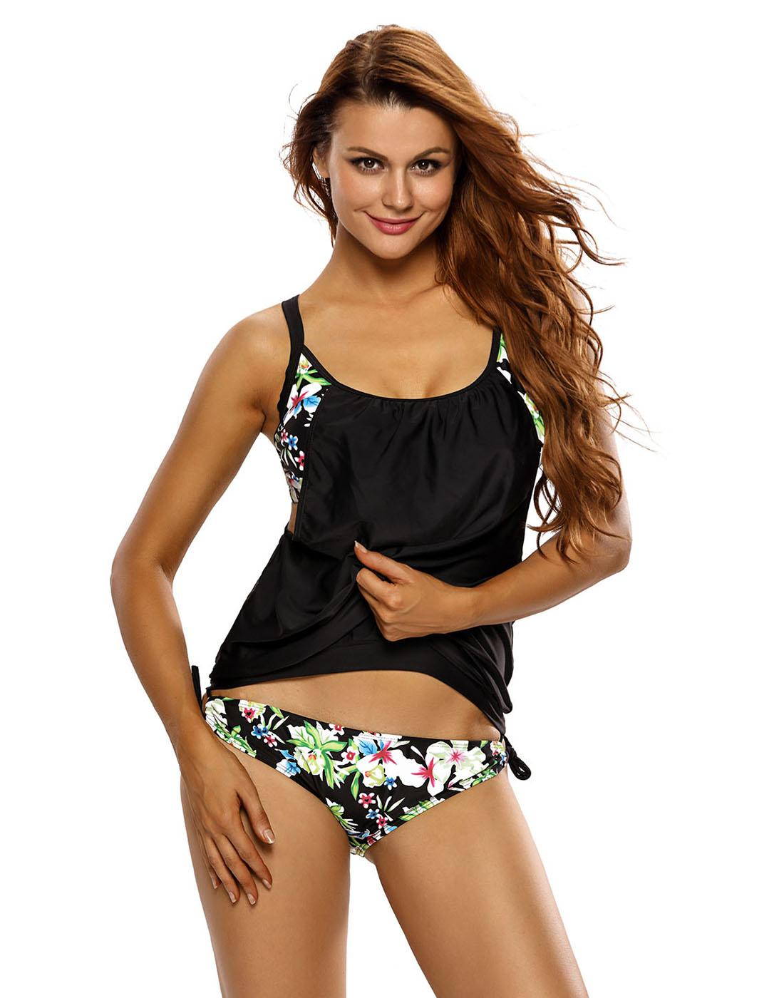 HDE Women's Push Up Tankini Black Floral Bathing Suit 2 Piece Hawaiian Swimsuit by HDE