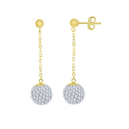 Sterling Silver 18 Karat Yellow Gold Plating Hanging Crystal Ball (Amber Sterling Silver Earwire)